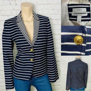 J. CREW Navy Blue Striped Schoolboy Blazer 8